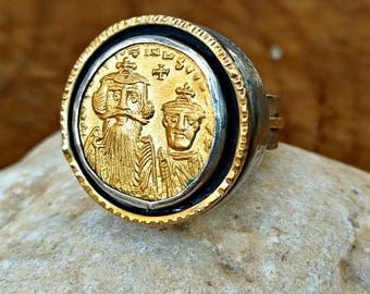 Gold Ancient Coin Ring, Statement Ring, Ancient Coin Jewelry, Authentic Byzantine coin , unisex ring, Ancient Coin jewelry