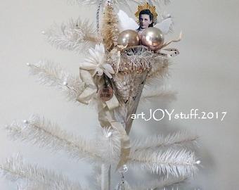 CHRISTMAS ANGEL - metal cone - vintage bits - NO089