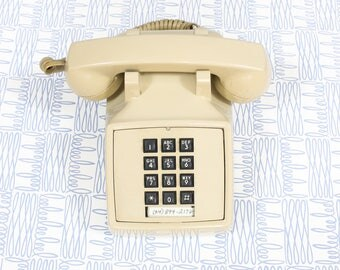 1970's Beige House Phone with Black Numbers . Classic Old School Telephone with Cord . Scary Movie Prop Ivory Tan