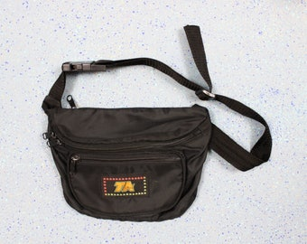 1990's Black TA Vinyl Fanny Pack with Rainbow Stars for Men or Women Unisex . Hip Purse Fannie Purse Bag