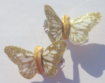 Butterfly Hair Clips small white and gold glitter Monarch Butterfly Accessory feather butterfly hand made hair clips by Ziporgiabella