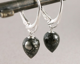 Teardrop earrings, Sterling Silver, pyrite, lever-backs, Minimal jewelry