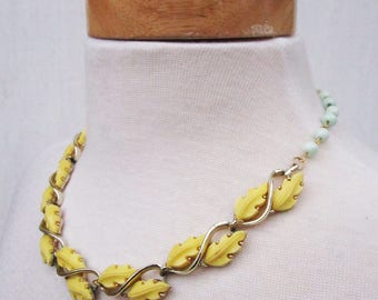 Spring Fling Necklace - recycled vintage yellow plastic leaves and mint green bead necklace