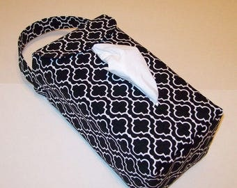 NEW!  Automobile Hanging Tissue Box Cover / Tissue Box Cozy / Automobile Accessory For Your Car / Black And White Tiles