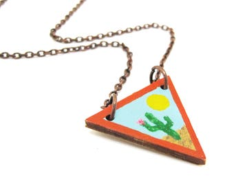 Painted Wood Desert Cactus Triangle Necklace