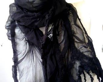 JANUARY SALE 10% OFF - Black Curly Nuno Felted Scarf  Eco Fashion Casual Wear Everyday Wear