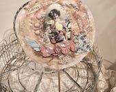 Pink Vintage Easter Girl Collage Paper Rosette Embellished w/ Antique Lace n Trims Easter Spring Decor