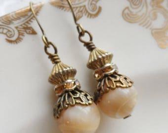50% Off Sale, Sandstone, Rhinestone and Vintage Bead Earrings