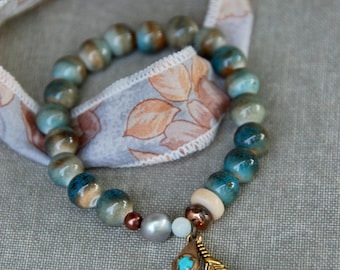 Silk sari ribbon bracelet and beaded charm bracelet set,bohemian bracelet,yoga bracelet,charm bracelet,boho jewelry