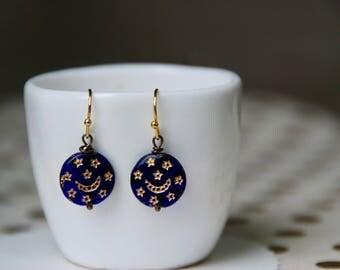 Vintage blue glass celestial earrings,gold plated earrings,moon and star earrings, small blue earrings.Tiedupmemories