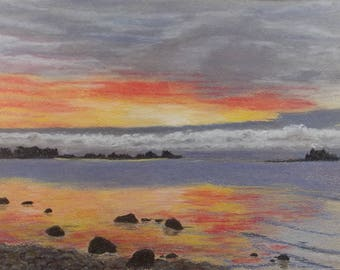 "Original pastel painting ""Daybreak on Amherst Island Number Three"" 8"" x 11"" neither mat nor frame are included"