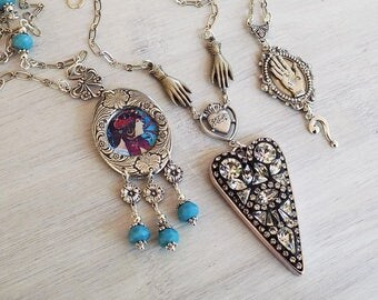 Necklace Lot, Jewelry lot, discounted lot, Art Nouveau, Fortune teller necklace, Mosaic Crystal necklace, Gypsy necklace, Boho necklace