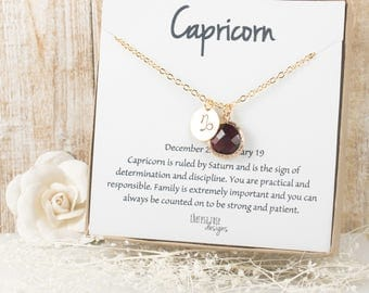 Capricorn Zodiac Gold Necklace, Capricorn January Necklace, January Birthday Jewelry, Zodiac Necklace, Astrology Gold Necklace