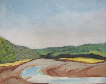 "Art Original Small Plein Air Landscape Oil Painting  Impressionist Minimalist Nature Canada By Fournier "" Low Tide At Fundy "" 10 "" x 12 """