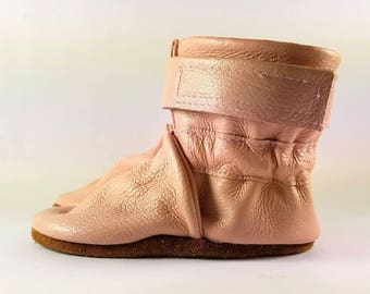 0 to 6 Month Soft Sole Pink Leather Baby Boots