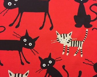 Cocoland Big Cats Japanese Oxford cotton canvas in black and red