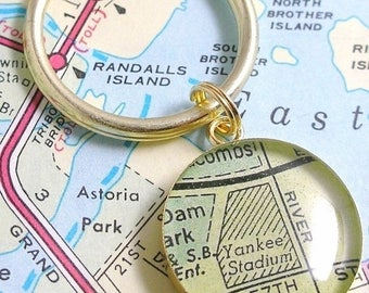 SUMMER SALE NY Yankee Stadium Brass and Resin Vintage Map Keychain.