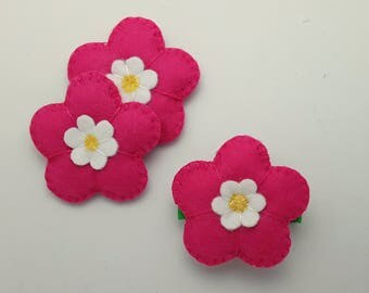 Hair clips, Hot pink/Fuscia padded Flower felt Flower hair clip, Flower barrette, padded flower hair slide, hair clips,multiple choices