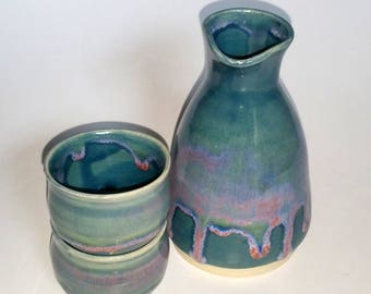 Sake Set with Two Cups in Teal, Green, Blue and Pink - Wheel Thrown Pottery -  Microwave and Dishwasher Safe