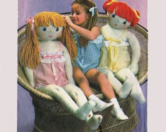 Vintage 70s Life Size Dress-Up Rag Dolls, Cloth Doll Sewing Pattern, Can Share Girls' Size 4 Camisole Romper UNCUT