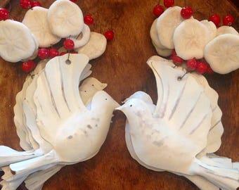 White Metal Dove Sand Dollar Ornament