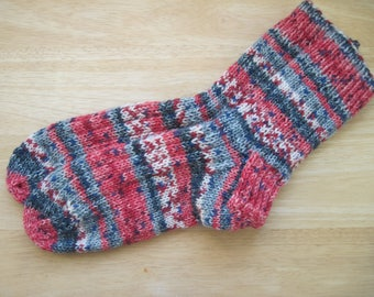 HAND KNIT SOCKS Adult Wool Grey Red Stripes