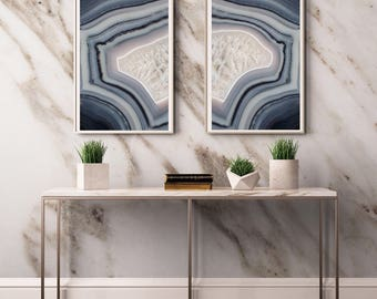 Set of 2 Agate Prints  - Prints (Print #097 and 098 )Fine Art Print - Two Paper Choices- Mineral Geode Agate Crystal Decor