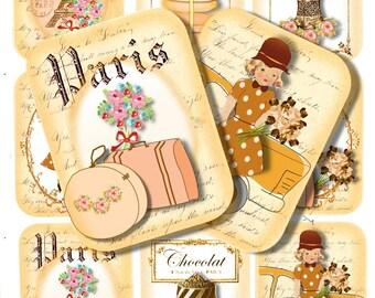 Paris Tags, INSTANT PRINTABLE, Junk Journal, Smash Journals, ATC, Paris, Eiffel Tower, Poodle, TraveL Download