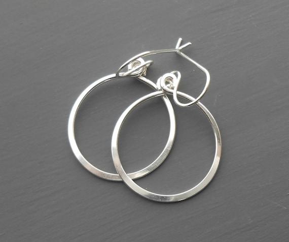 Sterling Silver Circle Earrings, Minimal Dangle Hoop, Small Silver Hoop Earrings