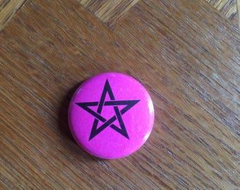 Pink Pentagram 1 inch pin