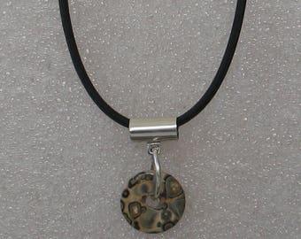 Simple Sterling Leopardskin Jasper Donut Necklace