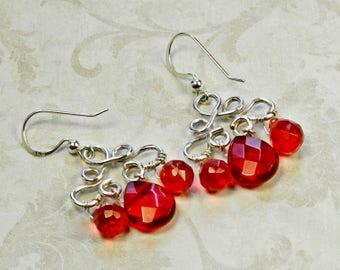 Red Crystal Earrings, Sterling Silver Earrings, Grenadine Red Quartz Earrings, Red Cluster Earrings,Garnet Red Briolette  Earrings