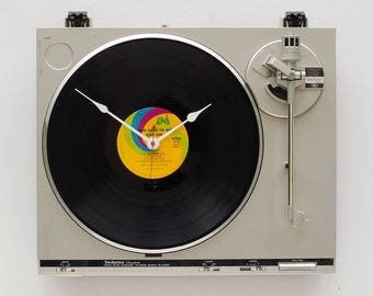 music lover clock, record album clock, Record player clock, Elton John record, upcycled large wall clock, Recycled Technics Turntable Clock