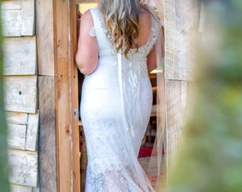 White Lace Wedding Dress/Mermaid gown/One of a Kind lace mermaid gown/hand made lace gown/