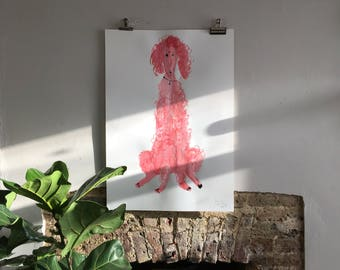 Original Faye Moorhouse painting - Giant Pink Poodle 007 - FREE SHIPPING