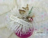 CHRISTMAS Vintage Pink SHINY BRITE Ornament with Deer Holiday Assemblage