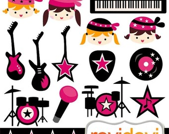 50% OFF SALE Girl ROCKSTAR cliparts / Pink Black Rockstar 07379.. digital clipart.. girls, electric guitars, keyboard, drum clip art
