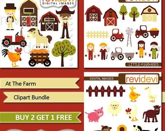 35% OFF SALE Farm animsla and farmer clipart - barnyard - At the Farm Clipart Bundle