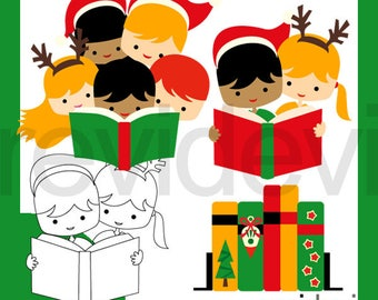 Christmas clipart / kids read a book clip art / Christmas reading clipart, books, library, literacy, boys girls / digital commercial use