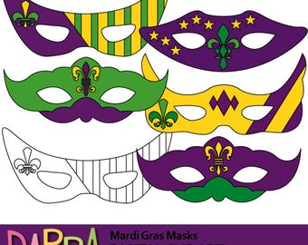 Mardi gras clipart / Fat Tuesday New Orleans clip art / Mask clipart, commercial use, digital images