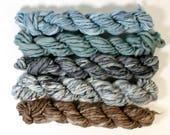 smoke on water ... handspun yarn set, weaving creative yarn bundle, hand spun, hand dyed yarn, handspun art yarn