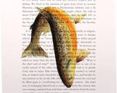 "A River Runs through It, The first page, Norman Maclean 8""X10"" Brown Trout Art Print Great English Literature Student or teacher gift"
