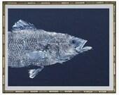 "GYOTAKU fish Rubbing Two Striped Bass Art Prints (head & tail) 8.5"" X 11"" Great Fisherman Gift quality Salt Water Art Print by Singer"