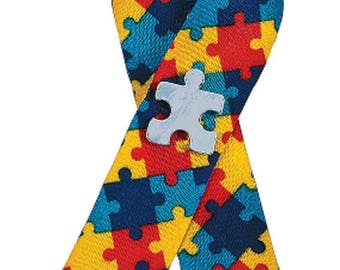 Autism Awareness Puzzle Ribbon with Pin