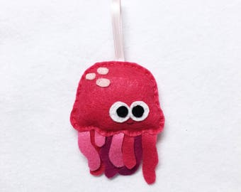 Ornament, Jelly Fish Ornament, Christmas Ornament, Patricia the Pink Jellyfish, Ocean Animal, Felt Animal