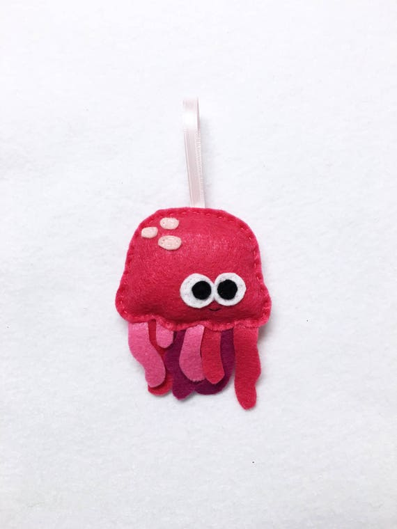 Ornament, Jelly Fish Ornament, Christmas Ornament, Patricia the Pink Jellyfish - Made to order, Ocean Animal, Felt Animal