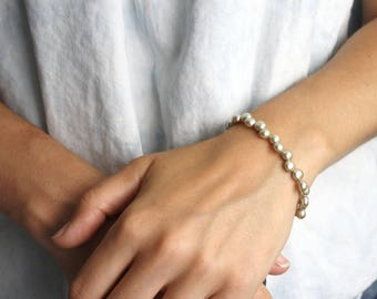 Freshwater Pearl Bracelet Sterling Silver . Simple Pearl Bracelet Yellow Green . Elegant Bracelet . Modern Jewelry - Crescent Collection