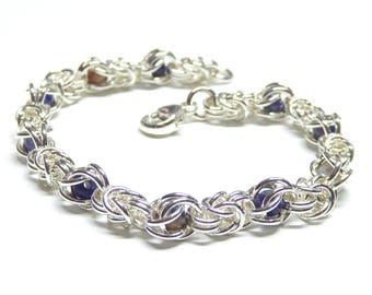 Sterling silver chain bracelet,925 sterling silver chainmail bracelet,chain link bracelet,sterling silver byzantine bracelet,vicking jewelry