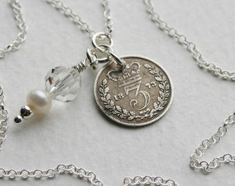 Victorian 3 pence coin Charm Necklace Genuine 1873 Coin Crystal and Freshwater Pearl Charm