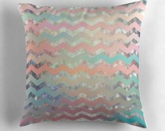 decorative pillow- geometric chevron pattern- trendy pillow cover with pillow insert- pastel colors- dorm room decor- teen room decor